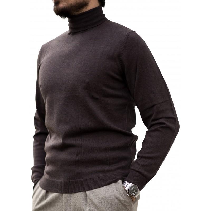 Alan Paine rollneck merino wool dark brown