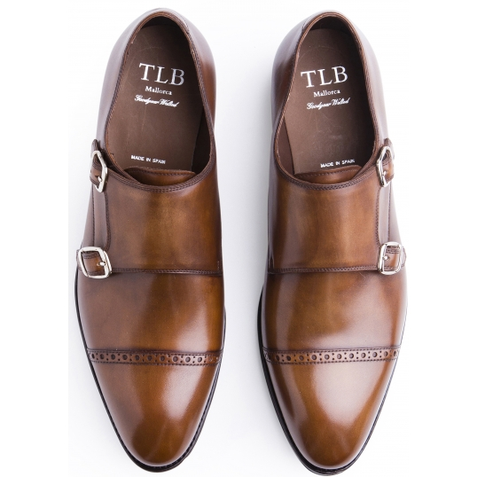 TLB Brogued Double Monk Old England Medium Brown