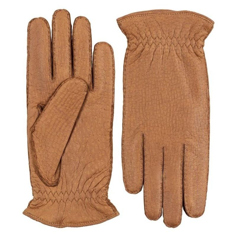 Peccary Half finger Leather Gloves for men/'s Hand sewn Handmade