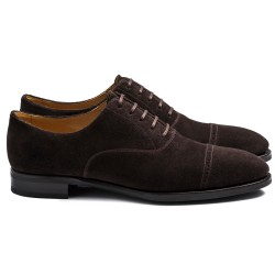 TLB Artista Brogued Oxford Brown Suede