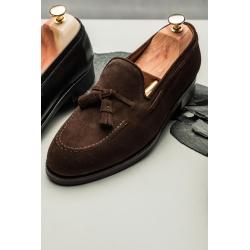 Skolyx Tassel Loafer i mörkbrun mocka