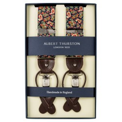 Albert Thurston braces navy with green and red paisley