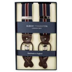 Albert Thurston braces navy with red and beige stripe
