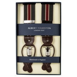 Albert Thurston braces black with red and beige stripes
