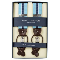 Albert Thurston braces sky blue with white and navy stripes