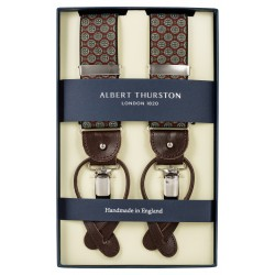Albert Thurston braces red with green pattern